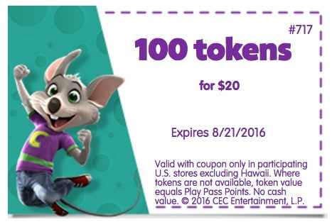Chuck E Cheese coupon August 2016