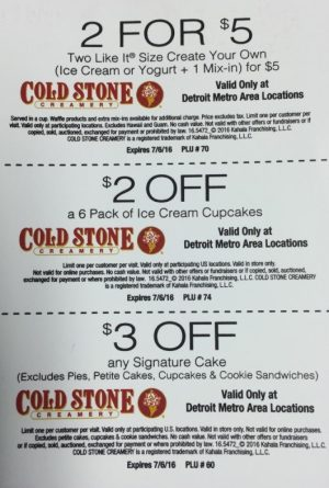 Cold Stone Creamery July coupons