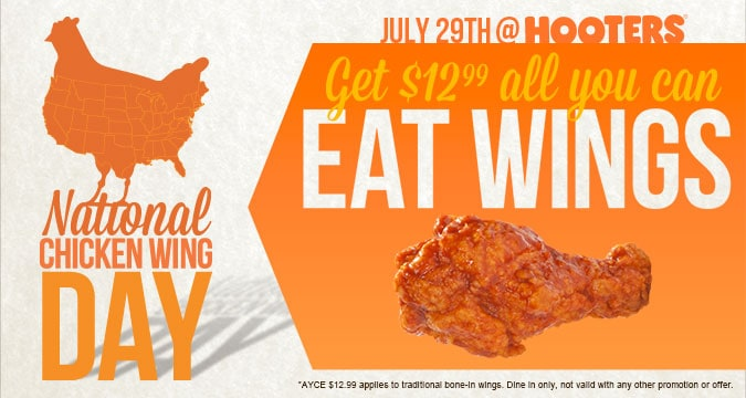 Hooters All You Can Eat Wings July 29