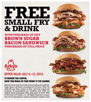 Arby's free small fry coupon