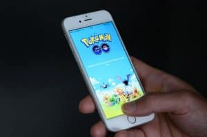 Pokemon Go game on mobile phone