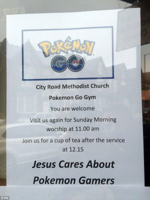 Pokemon embraced at church