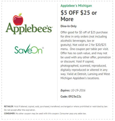 Applebees coupon good through October 2016