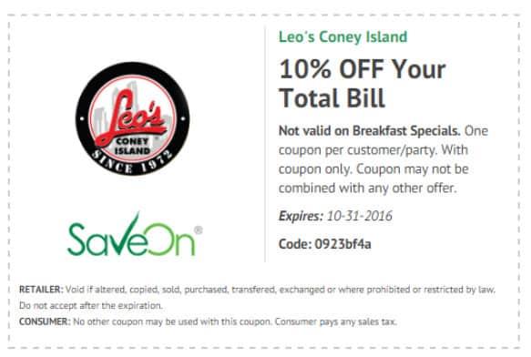 Leo's Coney coupon good thru October 2016