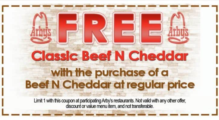 Arbys free beef and chedder coupon September 2016