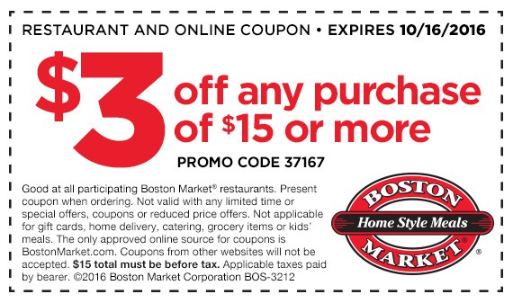 Boston Market coupon October 2016