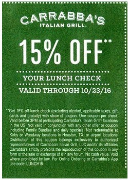 Carrabba's 15% off lunch coupon