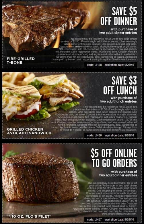 LongHorn Steakhouse coupons September 2016