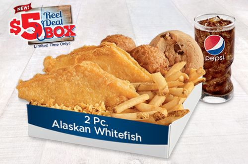 Long john silver s 5 reel deal box is back downriver for Long john silver s fish and chips
