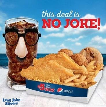 Long john silver s 5 reel deal box is back downriver for Long john silver s fish batter