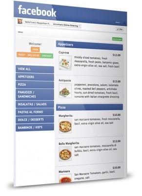 Facebook food menu ordering sample