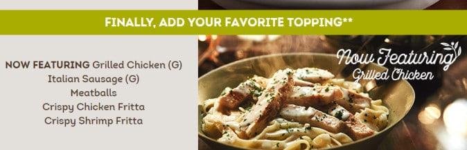 Olive Garden Never Ending Pasta includes Chicken Alfredo