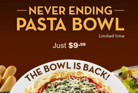 Never Ending Pasta Bowl is back at Olive Garden
