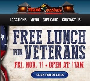 Texas Roadhouse Veterans Day deal