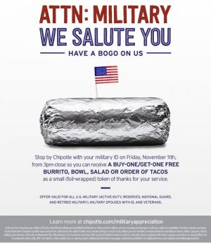 Chipotle Veterans Day deal