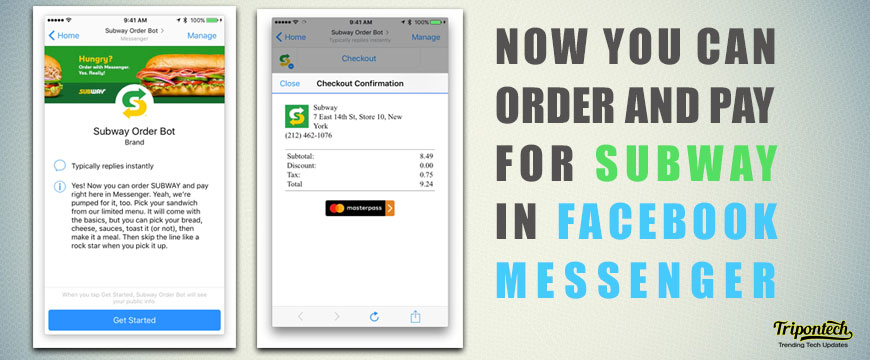 Order Subway from a dedicated Facebook Messenger Bot