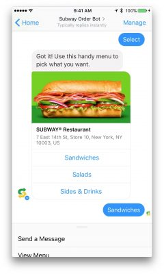 Subway Messenger Bot Ordering