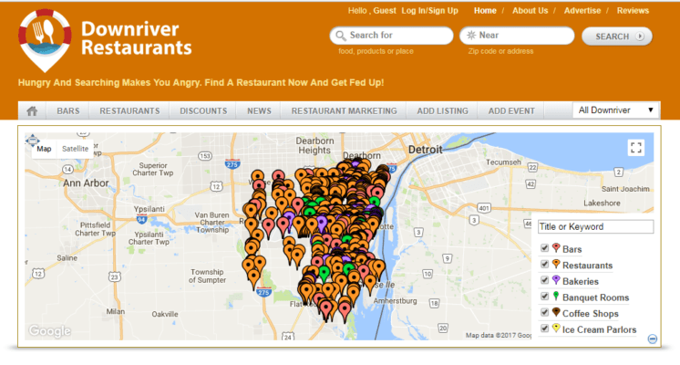 Map of various downriver restaurants