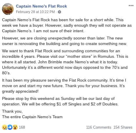 Captain-Nemos-Flat-Rock-closing