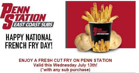 Penn Station Free French Fries on National French Fry Day