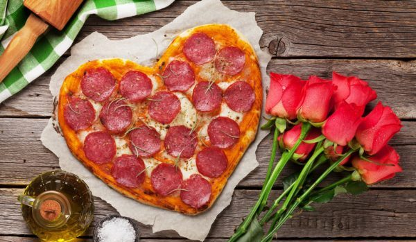 heart-shaped-pizza-and-red-roses