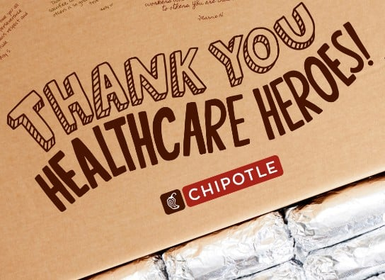 Chipotle thanks healthcare heroes with 250,000 free burritos
